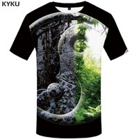 ropa de nieve al por mayor-KYKU Forest T-shirt Hombres Snow Leaf Camiseta Punk Rock Clothes Yin Yang 3d Imprimir Camiseta Cool Hip Hop Mens Clothing Streetwear Tops