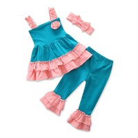 Wholesale Boutique Ruffle Pants Wholesale - Baby ruffle outfits INS girls headband+Sling top+Flare pants 3pcs set summer Boutique kids Clothing Sets C3549
