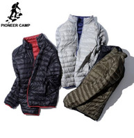 Wholesale reversible down jacket - Pioneer Camp ultra Thin Packable down jacket men brand-clothing simple casual duck down coat male reversible wear AYR701384