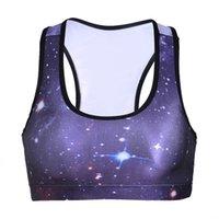 soutien-gorge violet achat en gros de-Soutien-gorge de sport féminin Starry Sky violet 3D graphique pleine impression Yoga Gym Fitness Coureur Sportwear Soutiens-gorge Push Up Crop Tops Tank Vest (RLSsb-0006)