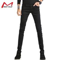 Wholesale cheap color jeans - Men Jeans Skinny Winter Warm Biker Jeans For Men Cheap Elasticated Plus Size Homme Casual Denim Pants Multiple Color Y2274