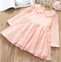 Wholesale American Head Dress - 2018 Spring New Girls Dresses lapel lace long sleeve Princess Dress Children Clothing Send head hoop 18022