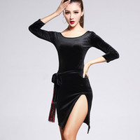 Wholesale latin dancing costumes - Latin Dance Dress Women CHEAPEST CAD305 Salsa Dance Wear Lyrical Dance Costumes with Tassels Velvet Milk Fiber Choices