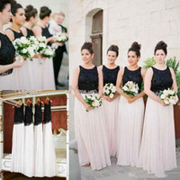 Wholesale Olive Garden Lights - 2018 Bohemian Black White Bridesmaid Dresses Beaded Chiffon Floor Length Long Country Garden Style Wedding Guest Party Gowns Custom Made