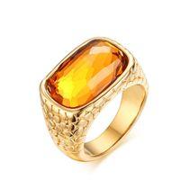 ingrosso anelli in pietra corallo-Anelli in pietra di grandi dimensioni di nuova moda per gioielli da donna Anello in pietra di cristallo giallo grande Anelli in acciaio inossidabile