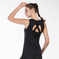 ingrosso maglia nera di ciclismo-Gilet senza maniche Sport Yoga nero da donna Sexy Backless Running Cycling Fitness Camicie Quick Dry Workout Gym Canotte