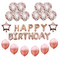 balões da folha da letra do ouro venda por atacado-16 polegadas Feliz Aniversário Bandeira Rosa de Ouro Confete Balões Folha Estrela Carta Balão Decoração de Feliz Aniversário Balão de Hélio Decoração
