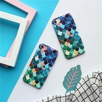 iphone verpackte blaue kiste großhandel-5 PC reizender blauer Meerjungfrau-Fischschuppen-Großhandelsfall für iPhone X Fall harte PC schützende rückseitige Abdeckung mit Luxuspaketkasten
