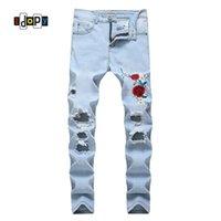 ingrosso i jeans floreali ansimano l'annata-Moda Uomo Jeans strappati Ricamo floreale Straight Fit Jeans Lightblue Vintage Jeans distrutti lavati con fori per uomo