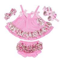 bebek ruffled bloomer setleri toptan satış-Yaz Stili Bebek Salıncak Üst Bebek Kız Giyim Seti Bebek fırfır Kıyafetler Bloomer Kafa Yenidoğan Kız Setleri Giysiler
