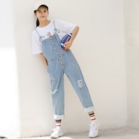 Wholesale jeans rompers for women - Overalls For Women Korean Frayed Jeans Jumpsuits Adjustable Lace-up Denim Jumpsuits With Pockets Light Blue Denim Rompers
