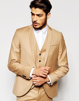 Wholesale Men S Wedding Suit Back - New Fashion Small Collar Men Suits Side Slit Back Groomsman Wedding Tuxedos Casual Prom Party Wear 2017 (Jacket+Pants+Vest+Tie)