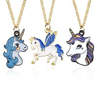 Wholesale choker necklace metal enamel for sale - Fashion Enamel Unicorn Horse Pendant Gold Black Metal Animal Necklace For Women Cartoon Animal Choker Necklaces