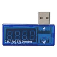 Wholesale mini ammeter - Digital USB Mobile Power charging current voltage Tester Meter Mini USB charger doctor voltmeter ammeter car charger