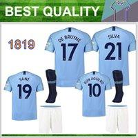 Wholesale man city football kit - 18 19 De Bruyne KIDS kit soccer jerseys SANE KUN AGUERO Adult men 2018 2019 city Men's football shirt BERNARDO SILVA Camiseta uniforms
