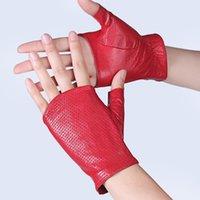 halbfingerhandschuhe großhandel-Echtes Leder Halbfinger Handschuhe Weiblichen Frühling Und Sommer Tanz Atmungs Ausschnitt Rutschfeste Halbfinger Schaffell