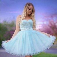 photos de vêtements pour bébés achat en gros de-2018 Baby Blue Short Homecoming Dresses Sweet Heart Dos Nu Dentelle Perles Mini Girls Prom Party Robes Junior 8th Grade Porter Cocktail Dress