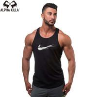 мужчины надевают новейшую моду оптовых-2018 Newest design Cotton Funny Tank vest O-Neck vest Men Fashion  Logo Print Tank Top Casual Men's Tank Tops