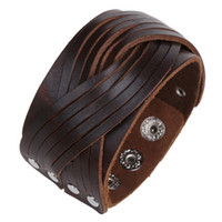 bangles bracelets girl UK - Retro Multilayer Leather Woven wide Bracelets & Bangles for man Charm Wristband Jewelry boy girl Gift
