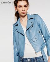 синий желтый куртка мотоцикла оптовых-2018 New Fashion Autumn Winter Women  Faux Soft Leather Jackets Pu Blue Red Yellow Zippers Long Sleeve Motorcycle Coat