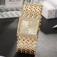 женские браслеты оптовых-Grealy  women's square wristwatches 2018 new diamond watch dial women watches bracelet gold/rose gold/silver band with box