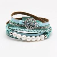 ingrosso perle intrecciate-Braccialetto in pelle intrecciata con perle intrecciate