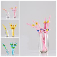 Wholesale l shaped tool for sale - Group buy Cartoon Plastic Straw Cute Animal Shape Disposable Straws Party Bar Drinking Tool Multi Color Hot Sale by C
