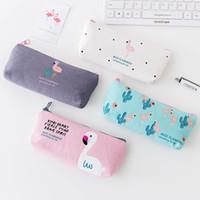 Wholesale Korea Office Bags - Korea simple and lovely flamingo canvas pencil case female small fresh zipper large capacity stationery bag
