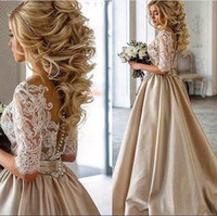 Wholesale beach wedding dress sheer real for sale - Group buy Vintage Lace Stain Champagne Wedding Dresses Half Sleeve Sheer Neck Covered Botton Cheap Dubai Arabic Bridal Gown Real Photos