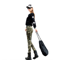 7ec637e9f3e Spring Autumn Jeans Europe US Military Army fans Brave girls slim Camo  Print Jeans Cotton Denim High waist pockets Ankle-Length Pants