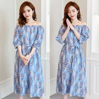 ingrosso legami floreali blu-Vestiti lunghi di maternità di estate vestiti coreano di stampa dei vestiti di maternità della vita per le donne incinte Vestiti di gravidanza allentati