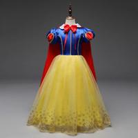 ropa de nieve al por mayor-Baby Girl Dresses Snow White Princess Dress Bowtie O Cuello Bronceado Flores Vestido de fiesta de Halloween manga corta vestido de navidad ropa de niños
