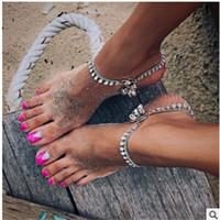 campanas redondas de plata al por mayor-Simple Fashion Round Bead with bells Chain Gold Silver Womens Bracelet Set Classic Beach Casual Clothing Jewelry