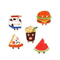 Wholesale Drop Shipping Shirts - Enamel Pizza Hamburger Milk Watermelon Brooch Pins Cute Suit Shirt Lapel Pin for Women Children Gift 2018 drop shipping 170893