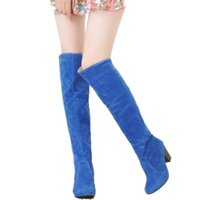 Wholesale Wholesale Sexy Boots - Wholesale- Large size 34-43 2016 New Women Knee High Boots Sexy Chunky High Heels Spring Autumn Shoes Round Toe Less Platform Knight Boots