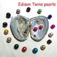 Wholesale oysters with pearls resale online - 2018 New Oysters with Edison Twins Pearls Oysters mm Multicolors Freshwater pearls for diy Gift Jewelry Vacuum packed