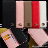 couverture de portefeuille en métal achat en gros de-logo en métal de marque LOGO G flip en cuir portefeuille cas de téléphone couvrir pour iphone xs max xr 7 7plus 8 8plus 6 6s 6plus avec fente pour carte