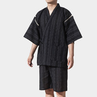 abc9fedfccf6 2018 summer black vintage japanese men kimono haori traditional male  warrior yukata halloween costume performance clothing set