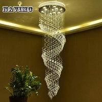 Wholesale Large Size Led Chandeliers - Long Size Crystal Chandelier Light Fixture for Lobby, Staircase Lustre, Stairs, Foyer Large Crystal Lmap Stair Lighting