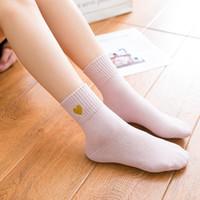 aa514fa462ba2 5 Pairs Women Winter Socks Japanese College Wind Gold Embroidery Love Socks  High Quality Female Cotton Tube Socks