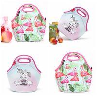 Wholesale flat tote bag - Neoprene Unicorn Flamingo Food Bag Cartoon Lunch Tote Bag Cooler Bag Food Carrier Thermal Bags OOA5385