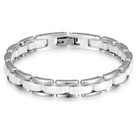 pulseira de aço de cerâmica mulheres venda por atacado-Top design pulseiras de aço de titânio Homens e mulheres de prata em preto e branco de cerâmica casal pulseira de longa duração cor alergia