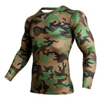 ingrosso camicia di compressione verde-Army Green Camo Running T-Shirt Uomo Sport Shirt Compression Tights Sportswear Gym Shirt Uomo Rashgard manica lunga T Fitness