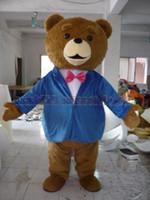 traje de peixe verde venda por atacado-Urso de pelúcia azul traje da mascote do terno Frete Grátis Tamanho Adulto, urso luxuoso festa de carnaval de brinquedo de pelúcia celebra vendas da fábrica de mascote.