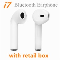 Wholesale Wholesale Single Roses - i7 Single and Twins Wireless Bluetooth Earphones For iphone X Twins Earbuds V4.2 Stereo Music Headset Phone Earpiece With Retail Package