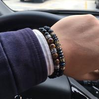 ingrosso pietre di pavimentazione diy-2018 Brand New Fashion Pavimenta CZ Uomini Braccialetto 8mm Perle di Pietra Con Ematite Bead Braccialetto di Fascino Diy Per Gli Uomini Regalo Dei Monili