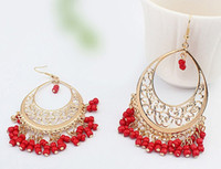 Wholesale vintage beaded chandelier - Fashion Bohemian Earrings Ethnic Style Hollow Beaded Tassel Earrings Women Tassel Earring Vintage United States Earring Gift Free DHL H47R