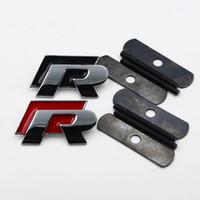 vw cc için aksesuarlar toptan satış-YENI 1 adet 3D siyah kırmızı metal R r hattı Ön Izgara amblem rozeti VW Passat lavida scirocco CC için oto aksesuarları dekorasyon