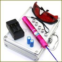 lazer işaretçi piller toptan satış-RBX4 450nm KıRMıZı Ayarlanabilir odak Piller ile Mavi lazer pointer ChargerGoggles 5 Yıldız caps