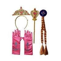 Wholesale kids party dresses for sale - HOT SALE cosplay Headwear 4pcs set Crown Wig Wand Gloves Party Dress Up costume for kids Princess christmas Party Accessories OTH632